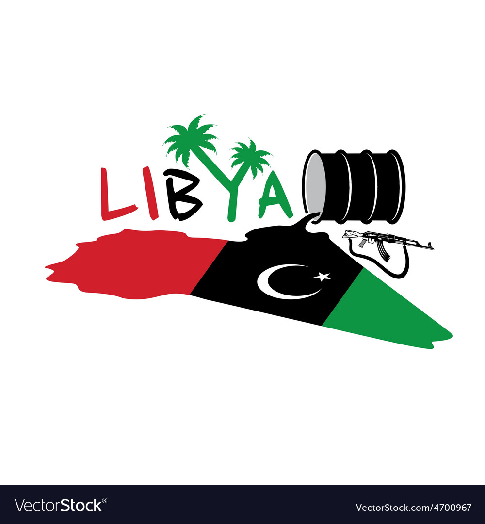 With map and flag of libya and oil barrel vector | Price: 1 Credit (USD $1)