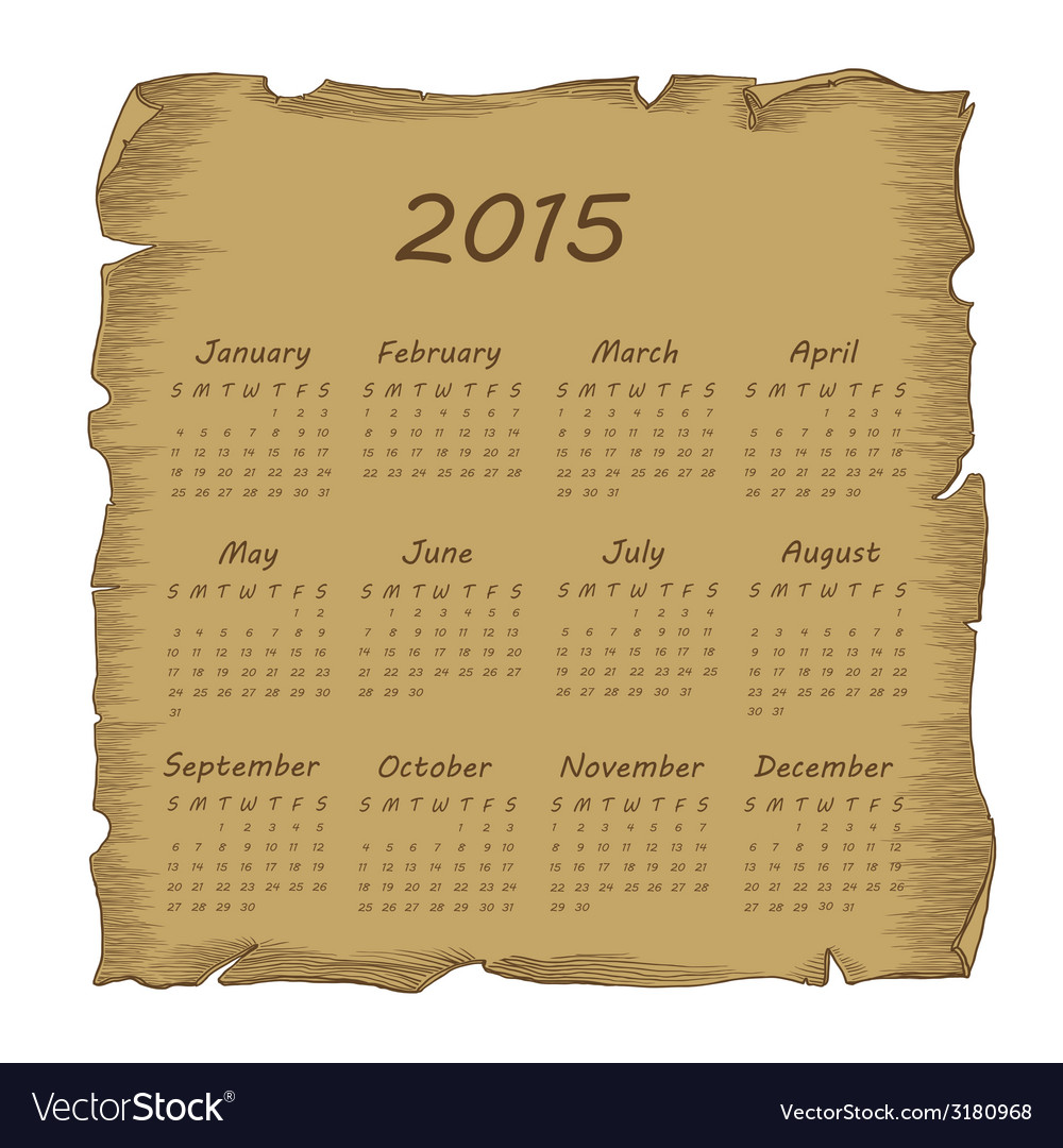 Aged scroll calendar 2015 vector | Price: 1 Credit (USD $1)