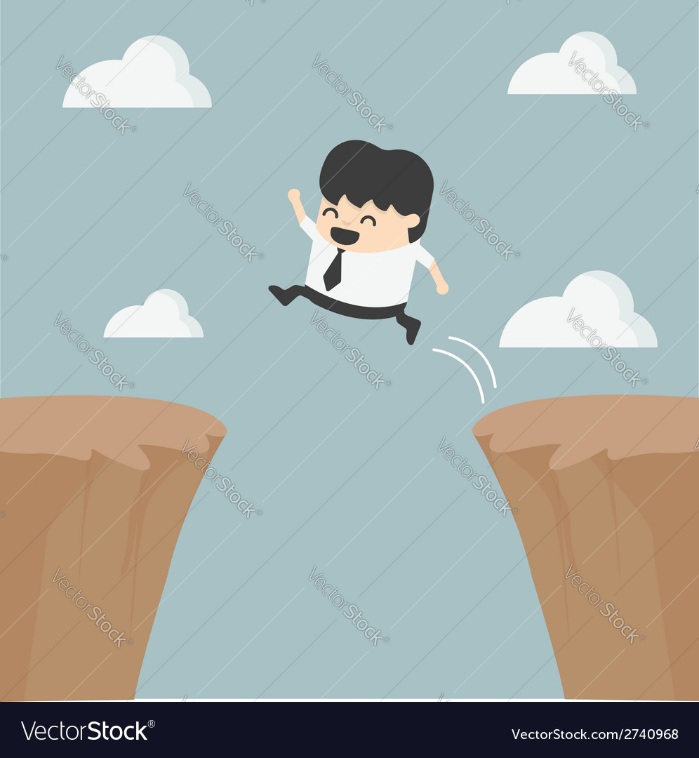 Businessman jumping over the cliff vector | Price: 1 Credit (USD $1)