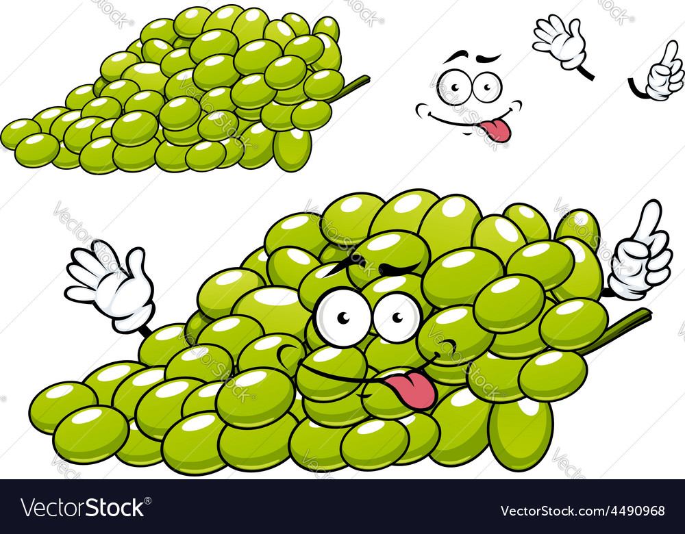 Cartoon green grape bunch character vector | Price: 1 Credit (USD $1)