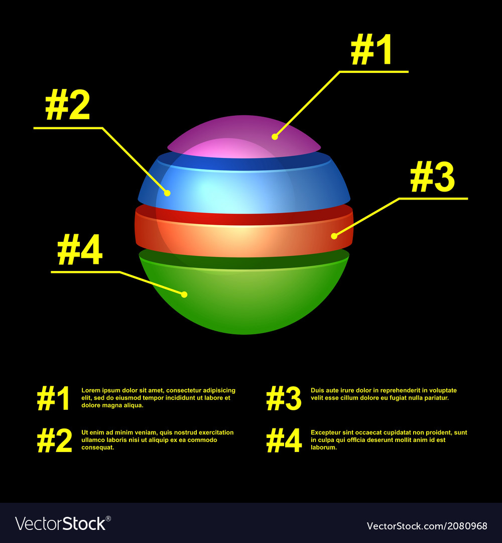 Colorful business pie chart on black background vector | Price: 1 Credit (USD $1)