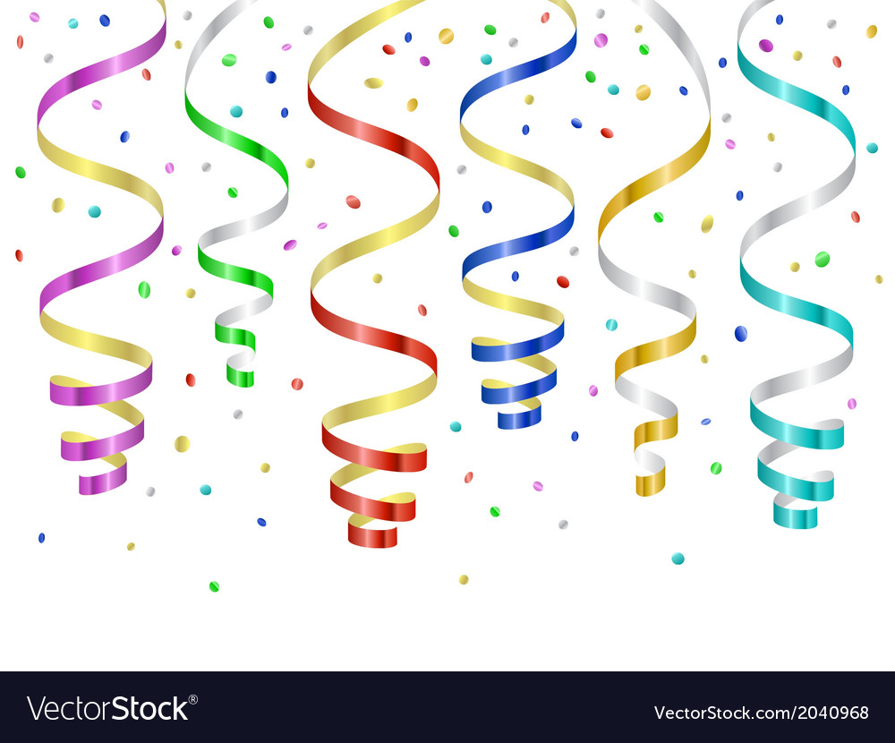 Confetti and serpentines party curled streamers vector | Price: 1 Credit (USD $1)