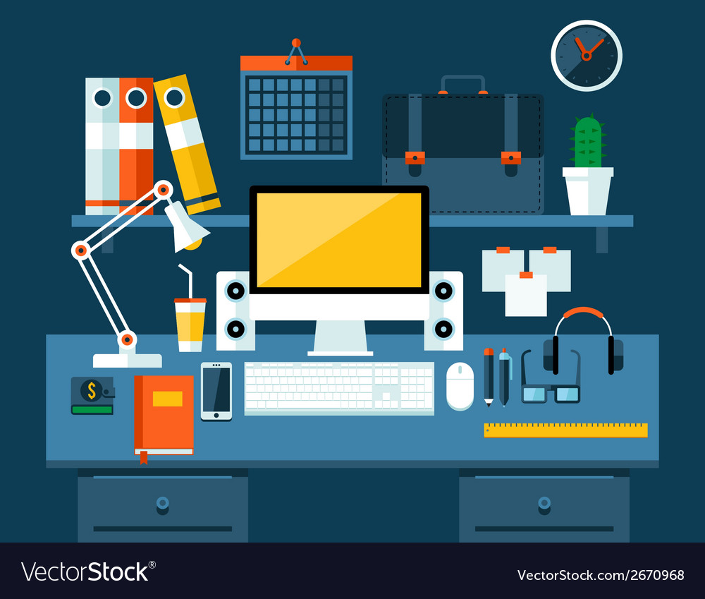 Flat modern design concept of office workspace vector | Price: 1 Credit (USD $1)