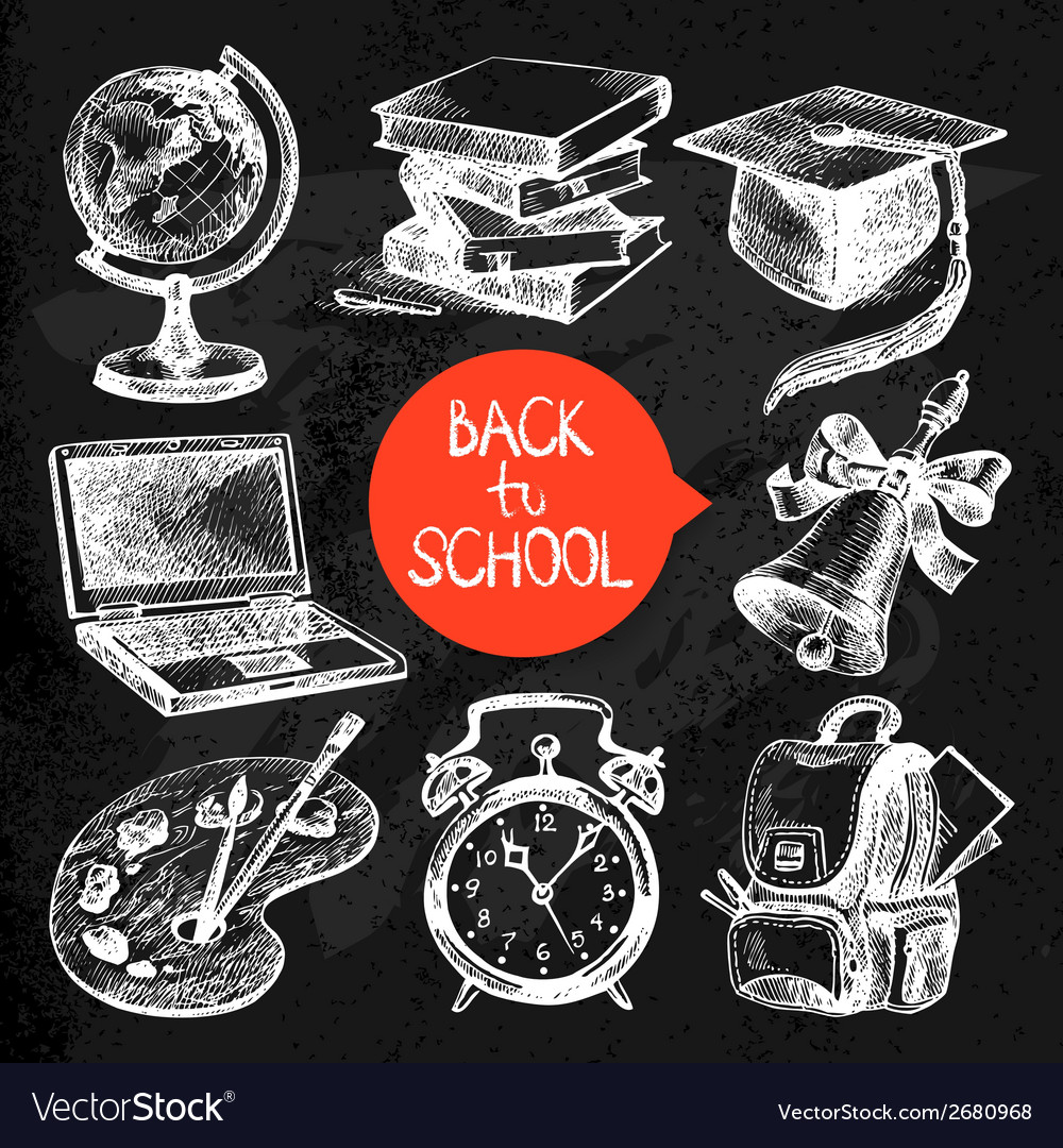 Hand drawn sketch education object set vector | Price: 1 Credit (USD $1)