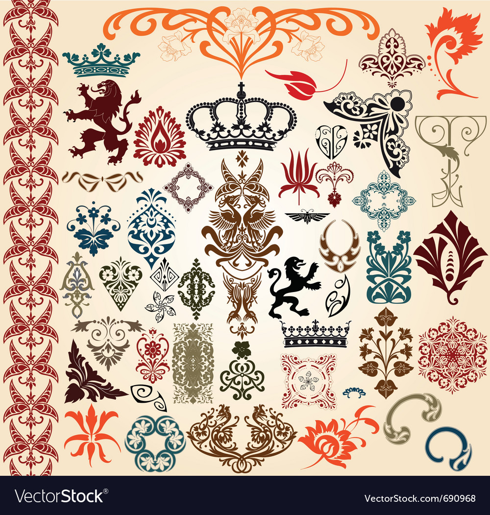 Heraldry elements vector | Price: 1 Credit (USD $1)
