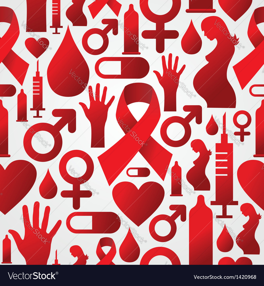 Hiv icon set pattern background vector | Price: 1 Credit (USD $1)