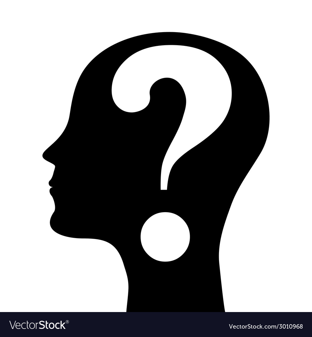 Human head silhouette with a question mark vector | Price: 1 Credit (USD $1)