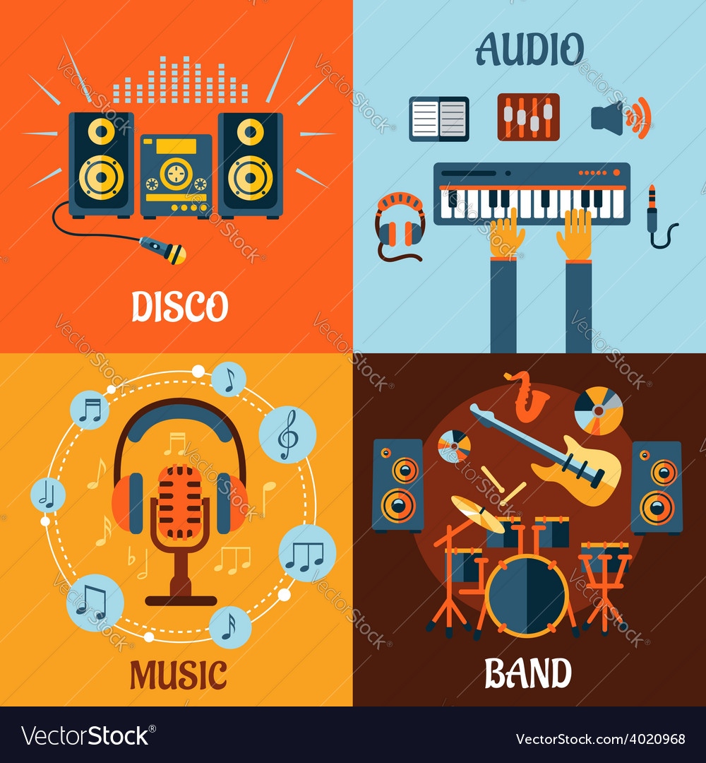 Music audio disco band flat icons vector | Price: 1 Credit (USD $1)