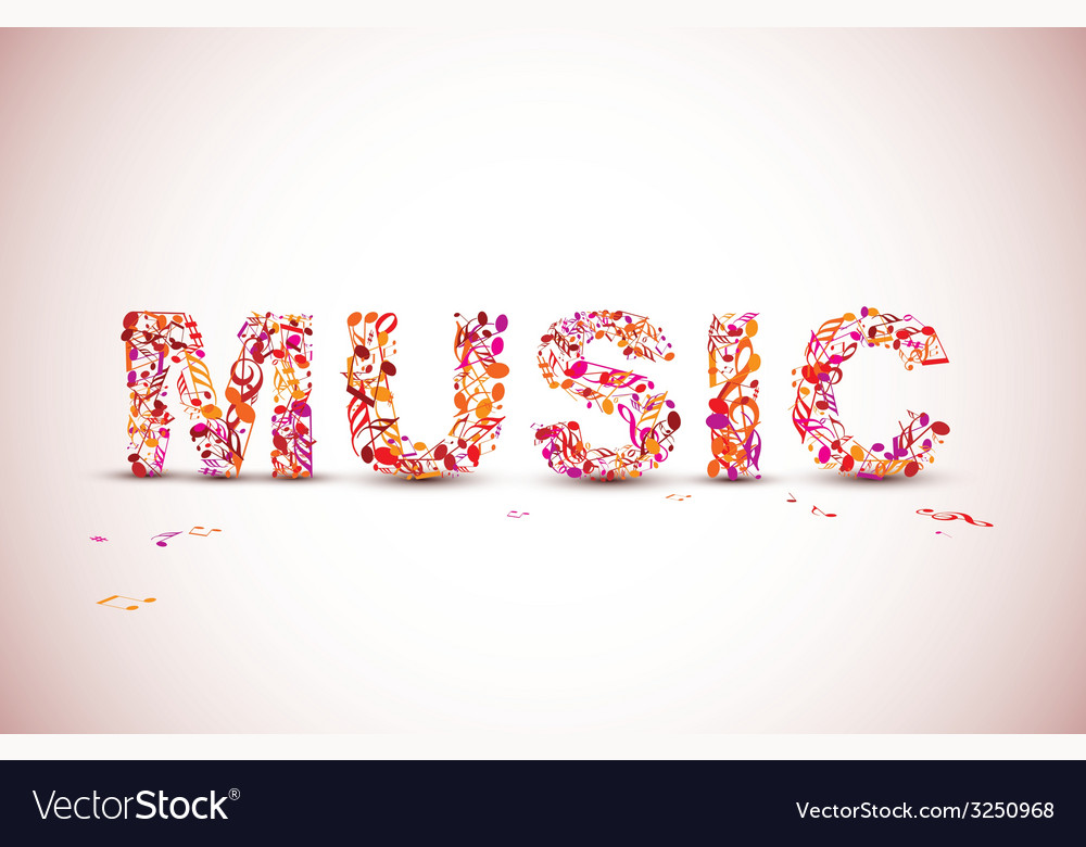 Music lettering theme made from black notes vector | Price: 1 Credit (USD $1)