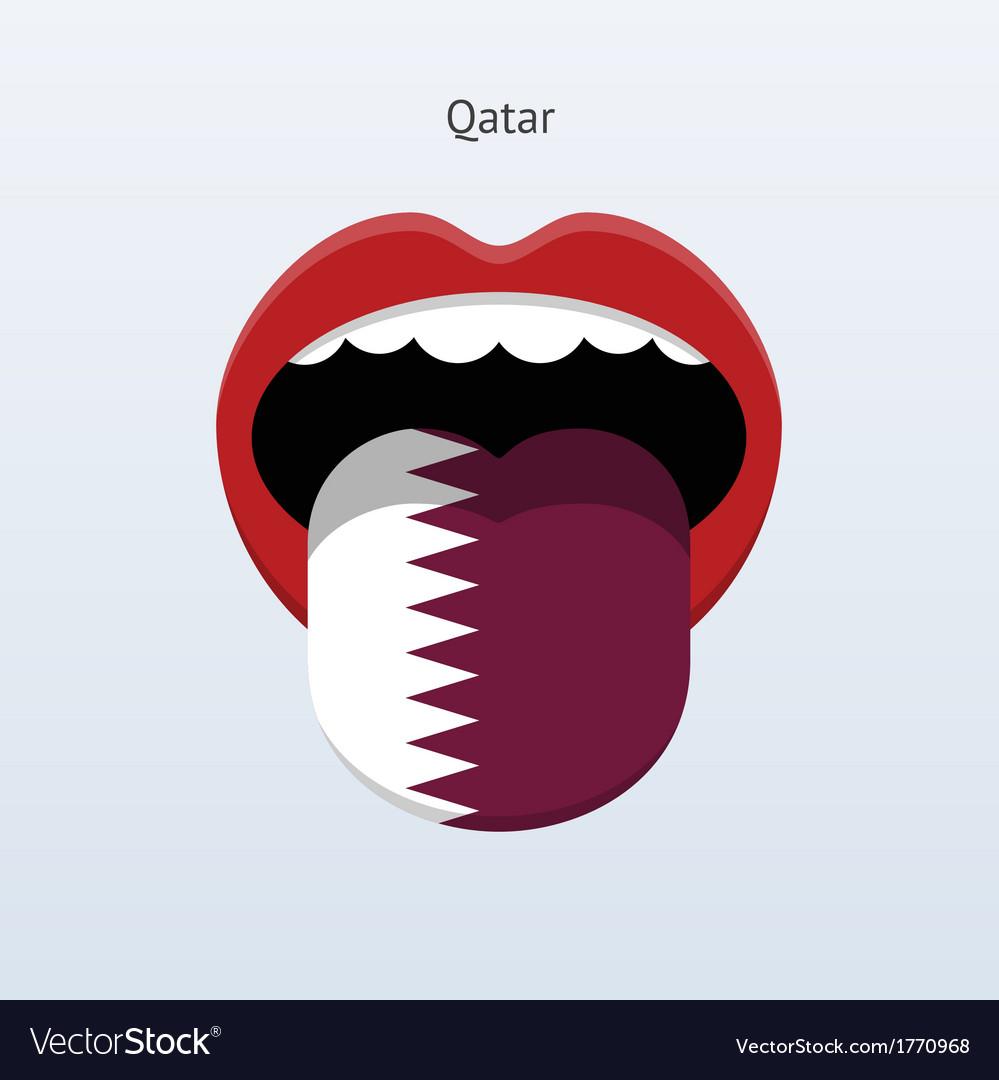 Qatar language abstract human tongue vector | Price: 1 Credit (USD $1)
