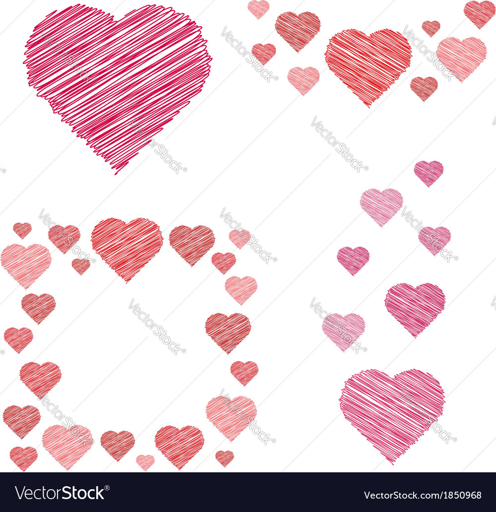 Set of hearts compositions in sketch style vector | Price: 1 Credit (USD $1)