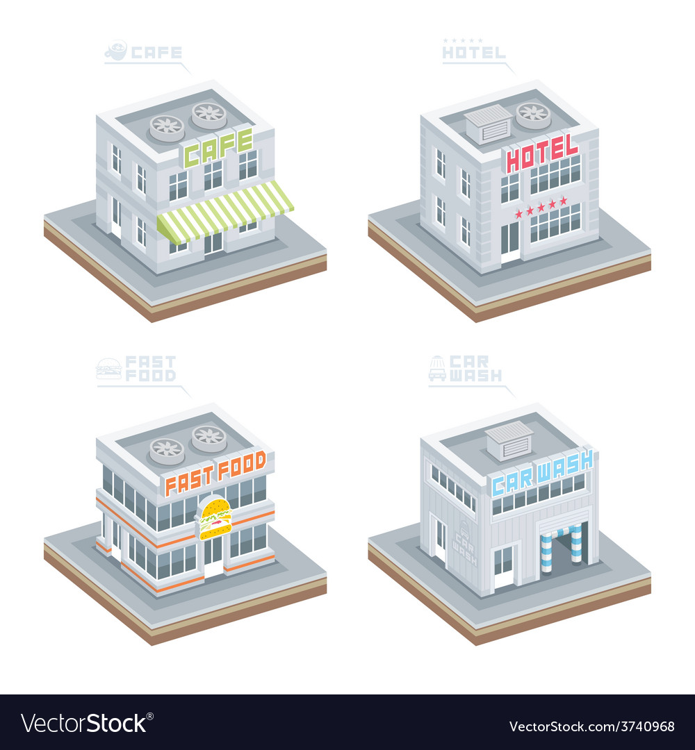 Set of isometric buildings vector | Price: 1 Credit (USD $1)