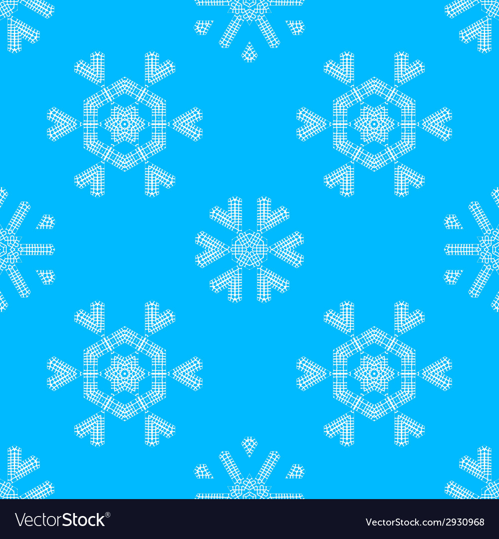 Various white crochet snowflakes on blue vector | Price: 1 Credit (USD $1)