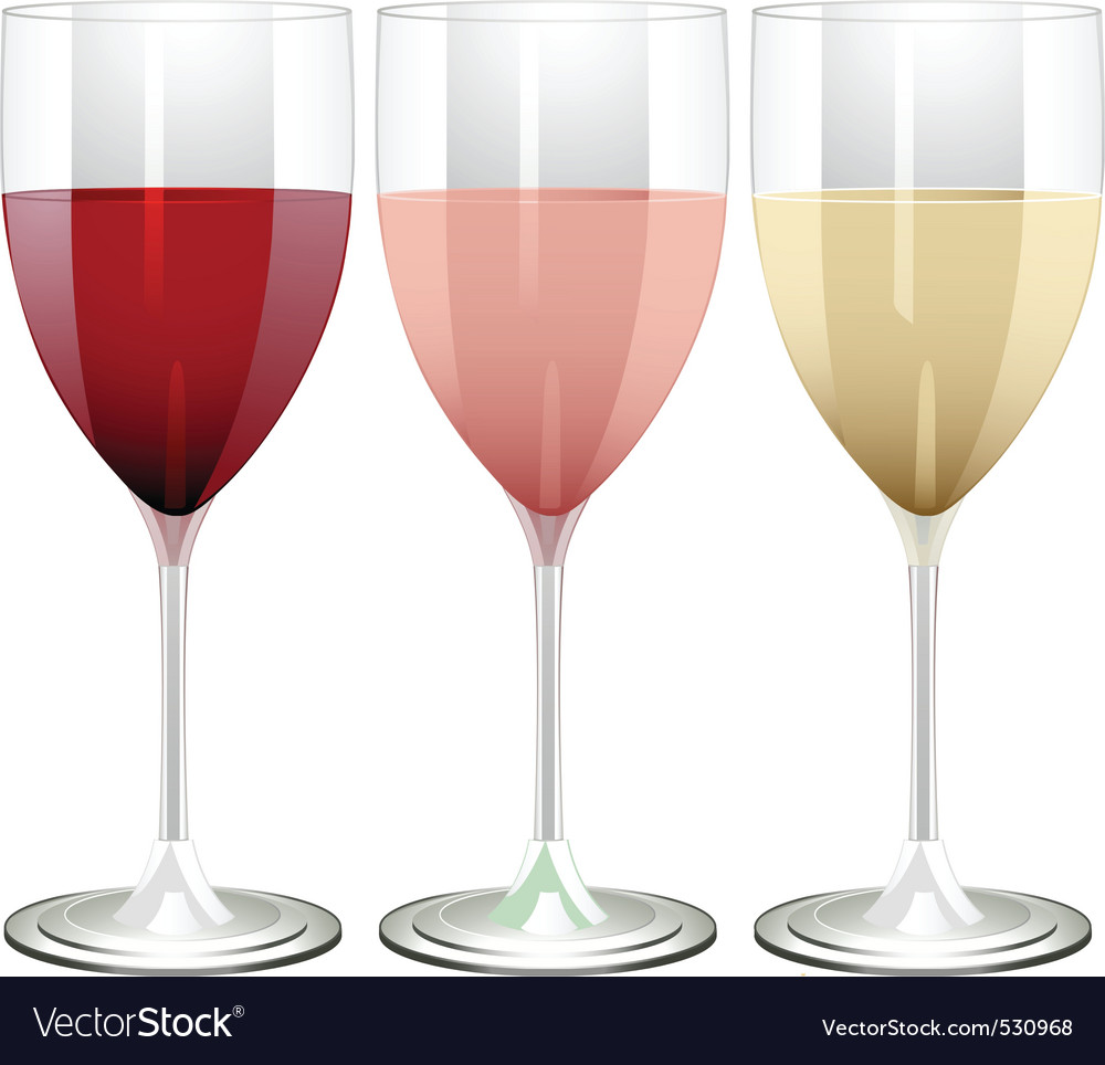 Wine glasses filled with red rose and white wine o vector | Price: 1 Credit (USD $1)
