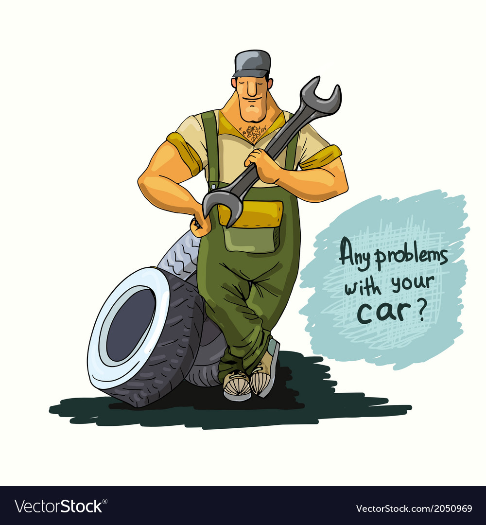 Auto mechanic with wrench and tires vector | Price: 1 Credit (USD $1)