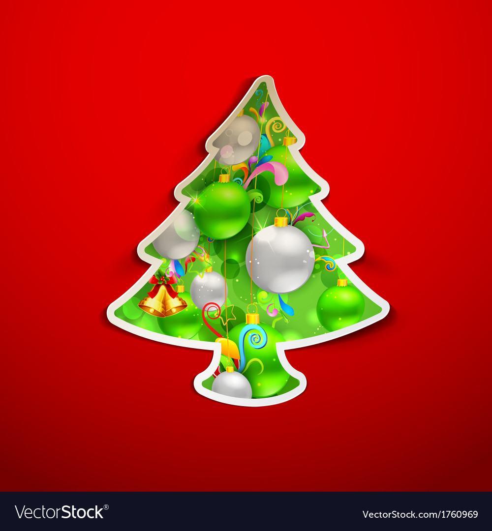 Christmas tree with colorful bauble vector | Price: 1 Credit (USD $1)