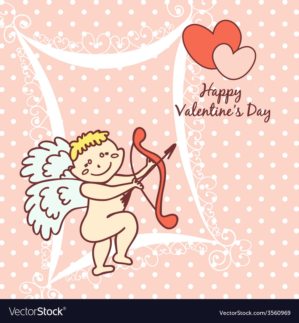 Cupid cute card for valentines day vector | Price: 1 Credit (USD $1)