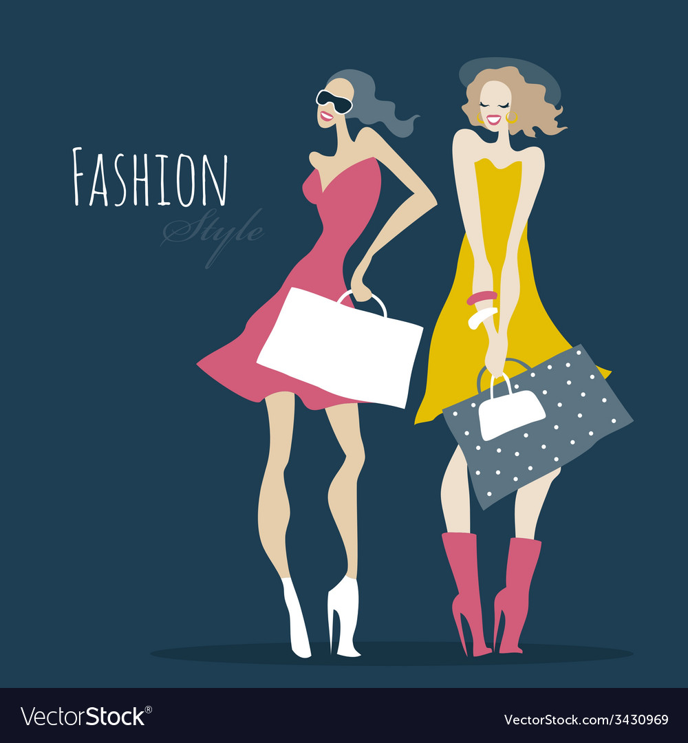 Fashion girls women with shopping bags vector | Price: 1 Credit (USD $1)