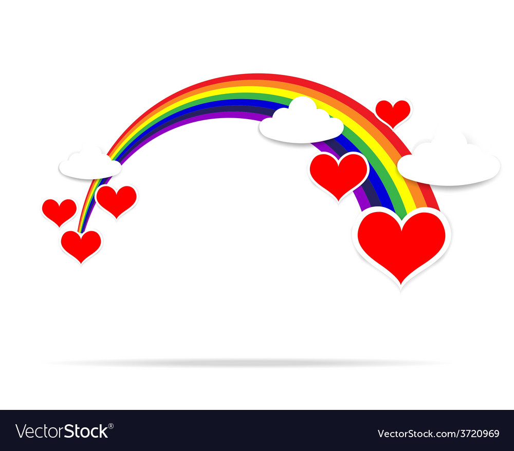 Happy valentine day heart cloud and rainbow 001 vector | Price: 1 Credit (USD $1)