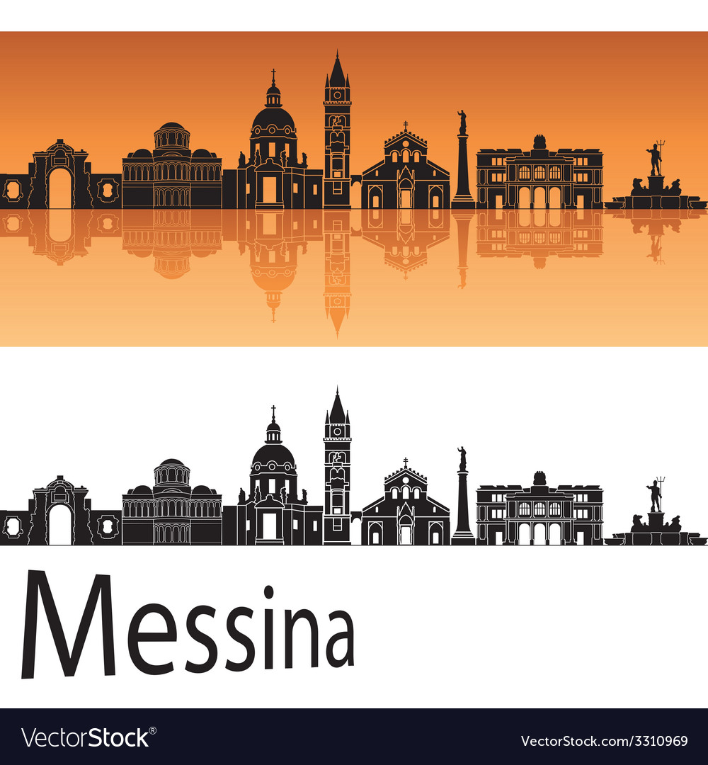 Messina skyline in orange background vector | Price: 1 Credit (USD $1)