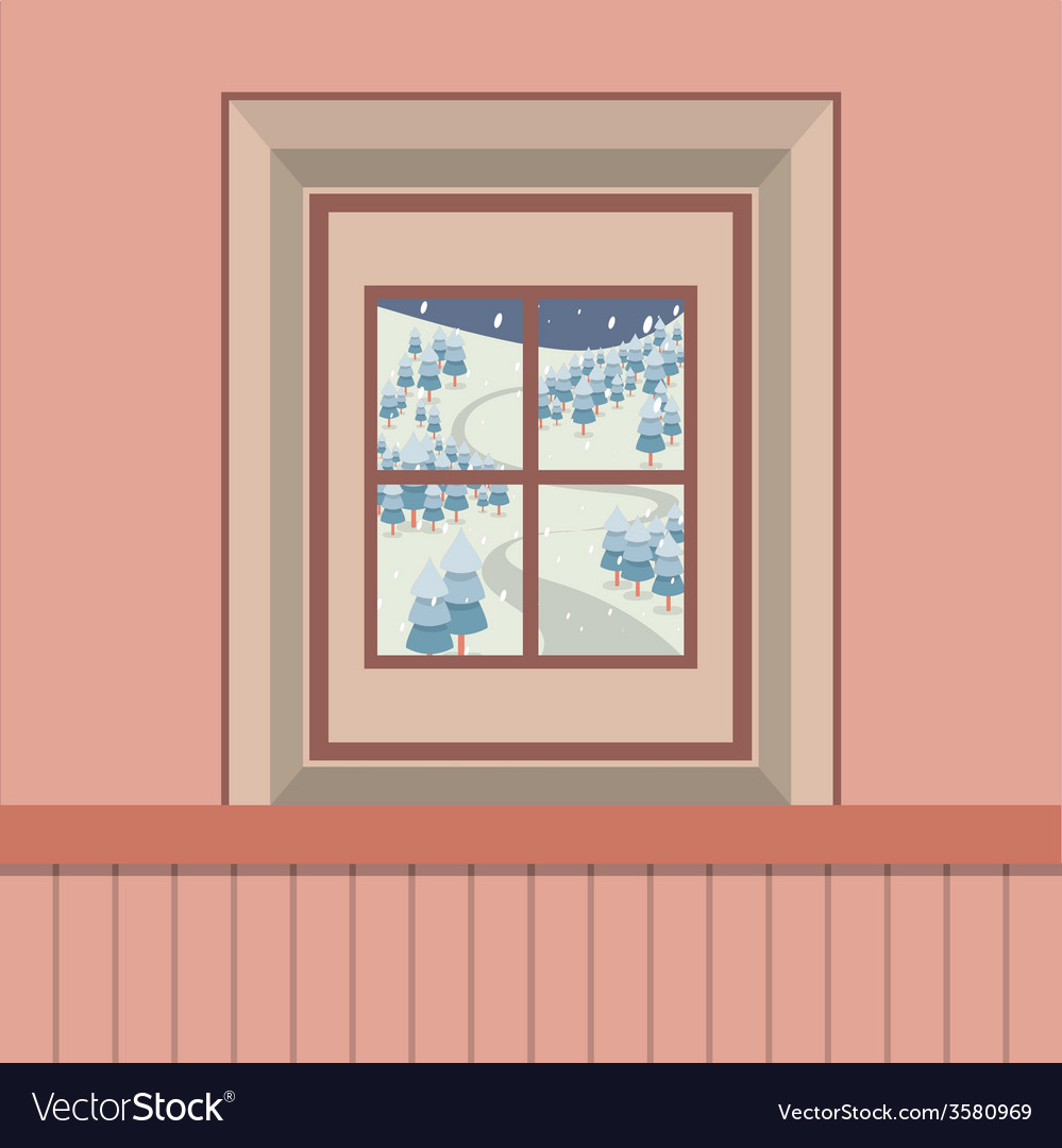 Natural landscape view through the window vector | Price: 1 Credit (USD $1)