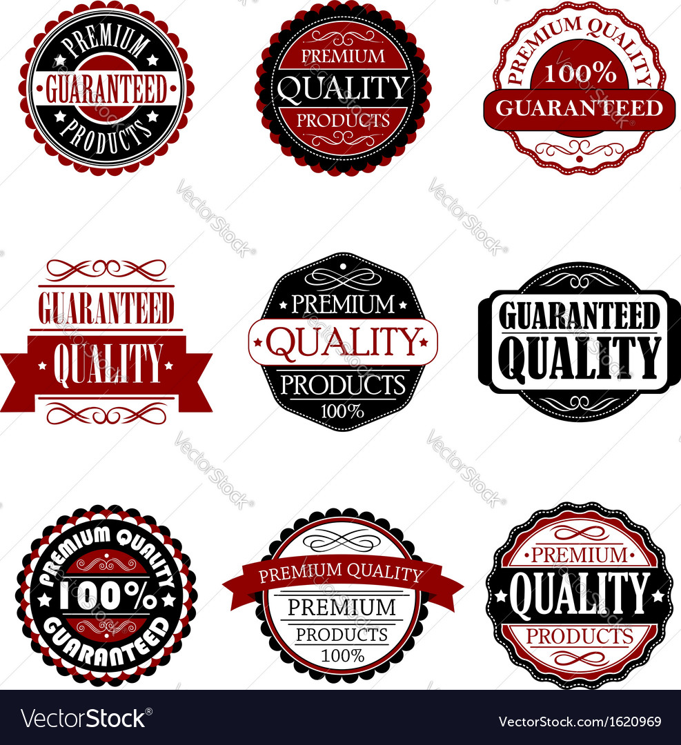 Premium quality and guarantee labels set vector | Price: 1 Credit (USD $1)