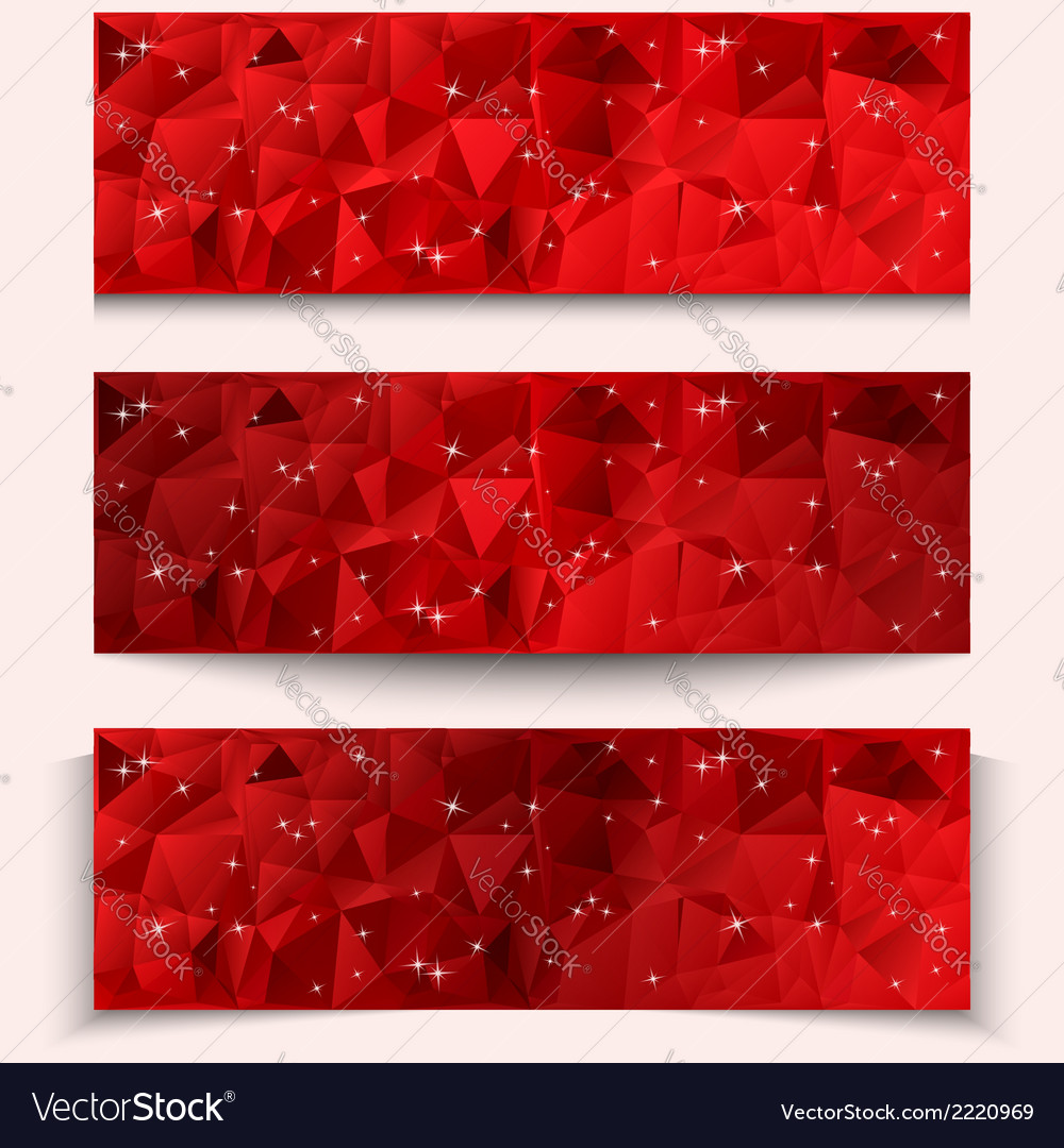 Set of red abstract geometric polygonal banners vector | Price: 1 Credit (USD $1)