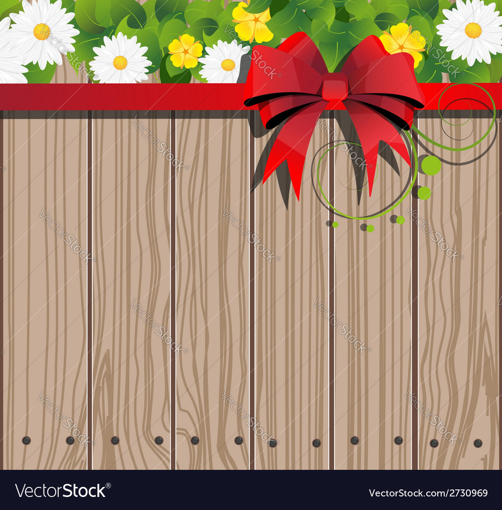Wooden fence and chamomile vector | Price: 1 Credit (USD $1)