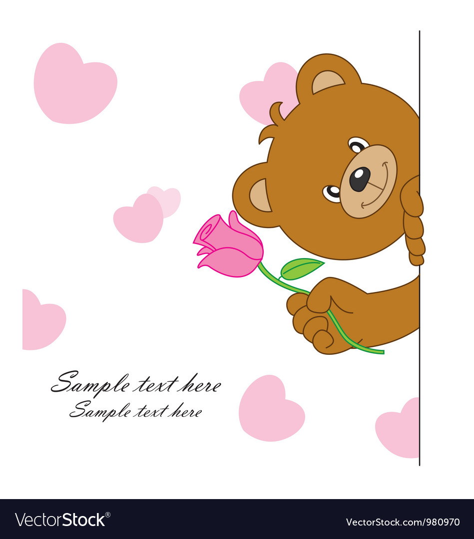 Bear with a flower vector | Price: 1 Credit (USD $1)