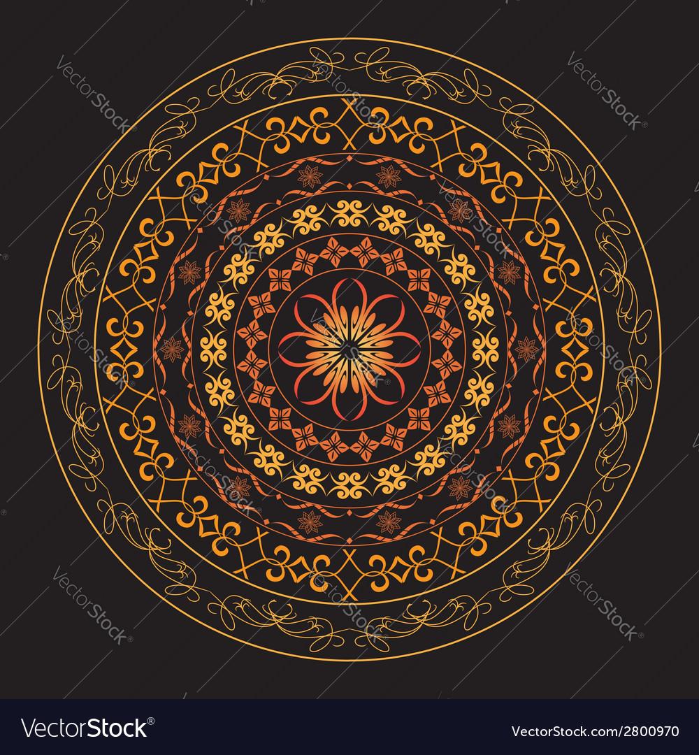Bright round geometric ornament vector