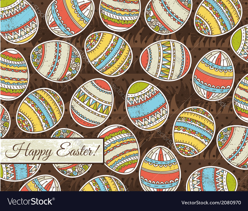 Brown grunge background with easter eggs vector | Price: 1 Credit (USD $1)