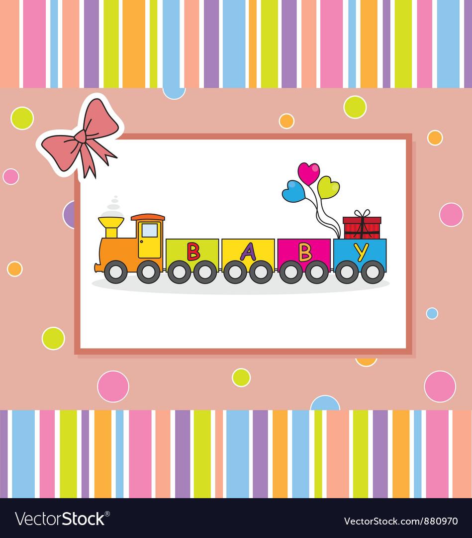 Children postcard of a train vector | Price: 1 Credit (USD $1)