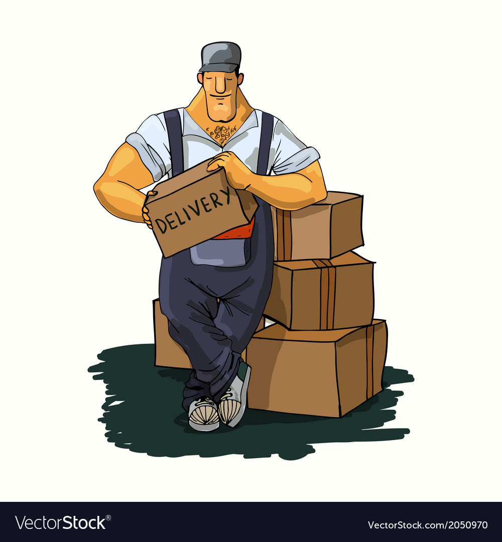 Delivery man with boxes vector | Price: 1 Credit (USD $1)