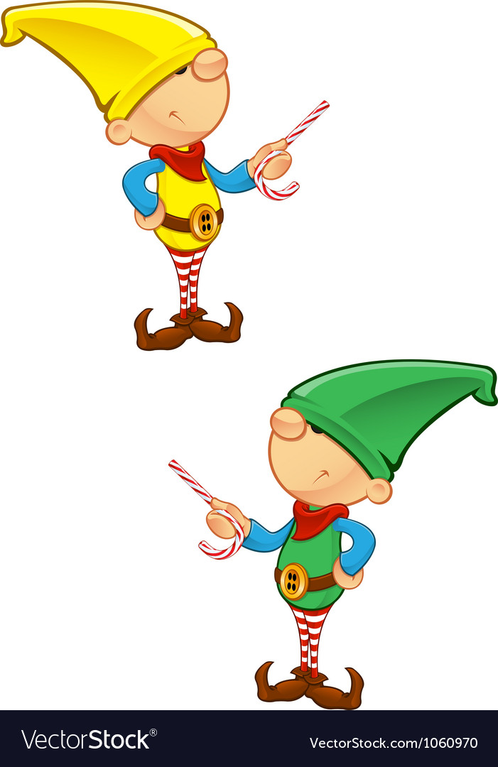 Elf mascot pointing with candy vector | Price: 1 Credit (USD $1)
