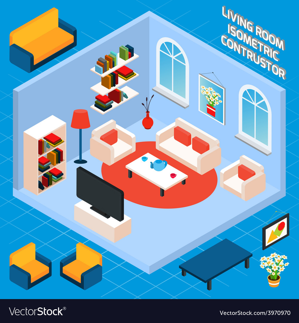Isometric living room interior vector | Price: 1 Credit (USD $1)