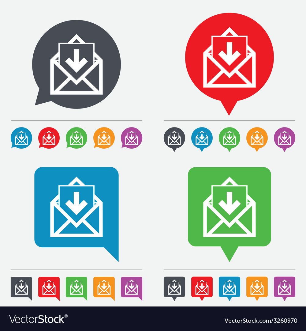 Mail icon envelope symbol inbox message sign vector | Price: 1 Credit (USD $1)