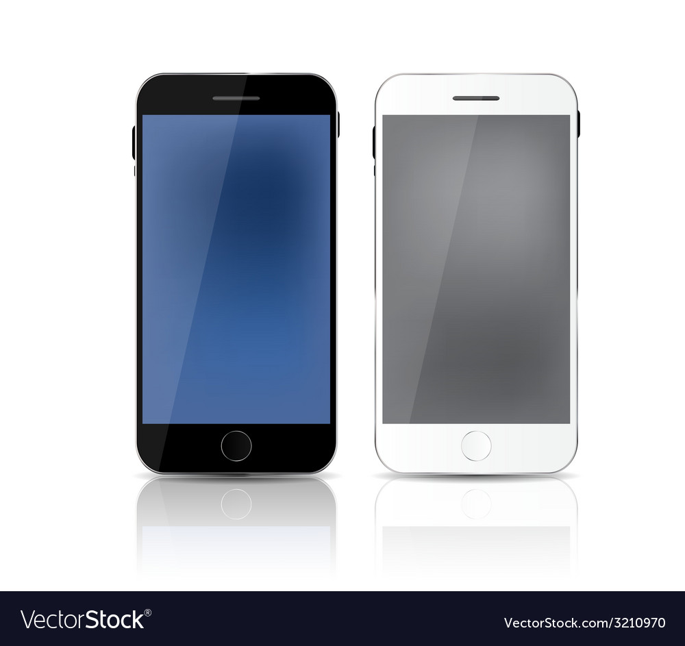 New realistic mobile phone with gray and blue vector | Price: 1 Credit (USD $1)