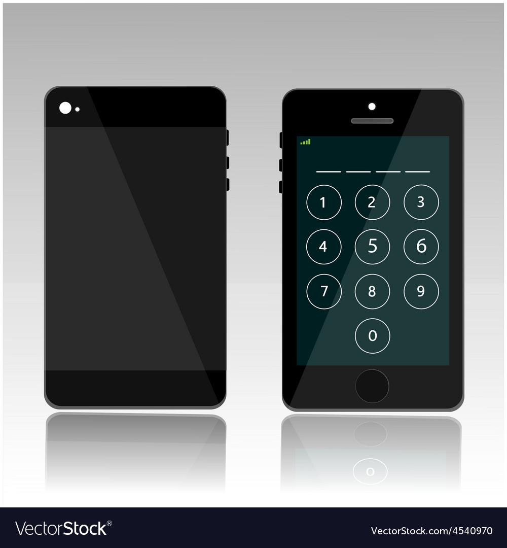 Password on black phone vector | Price: 1 Credit (USD $1)