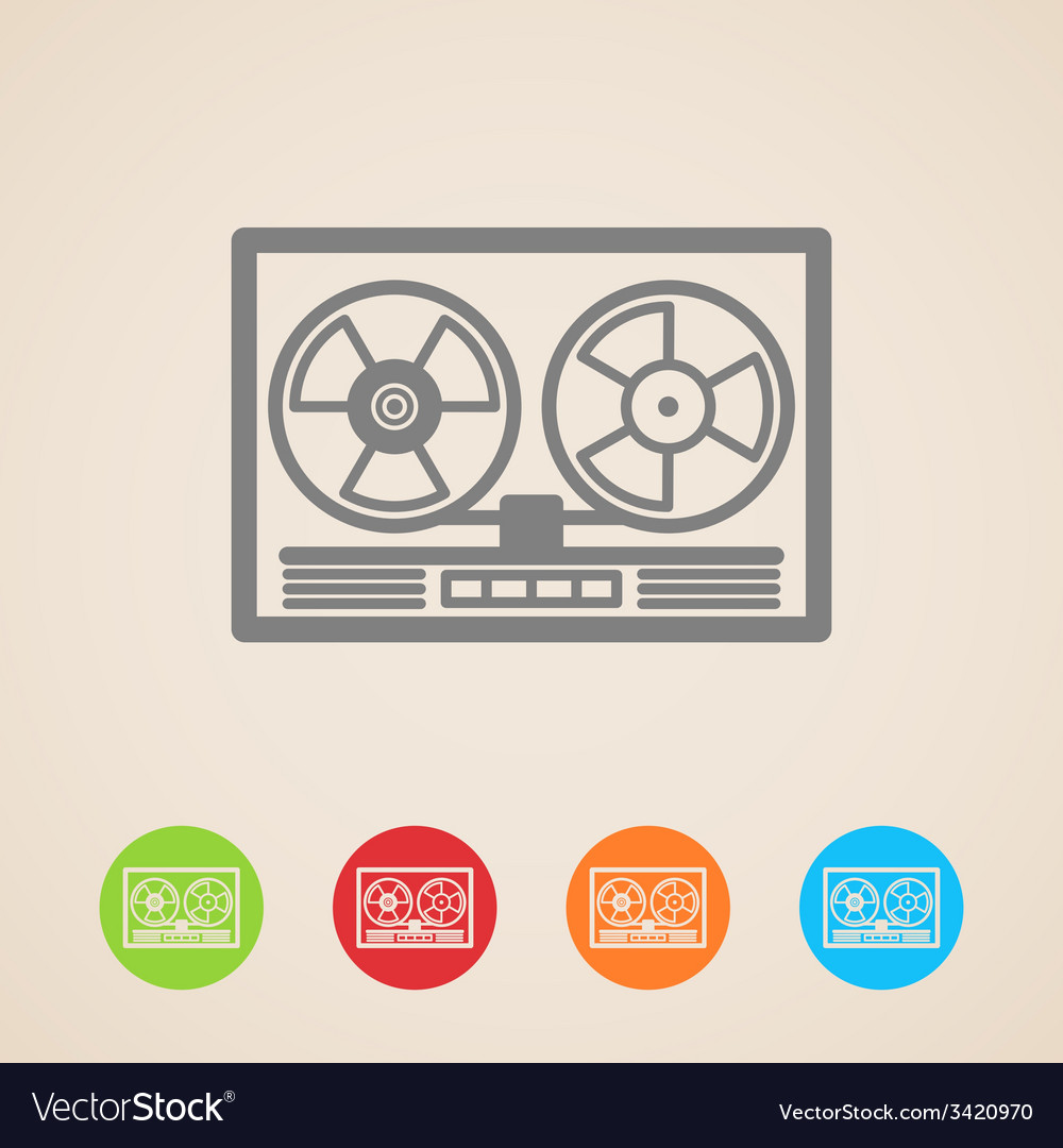 Reel tape recorder icons vector   Price: 1 Credit (USD $1)