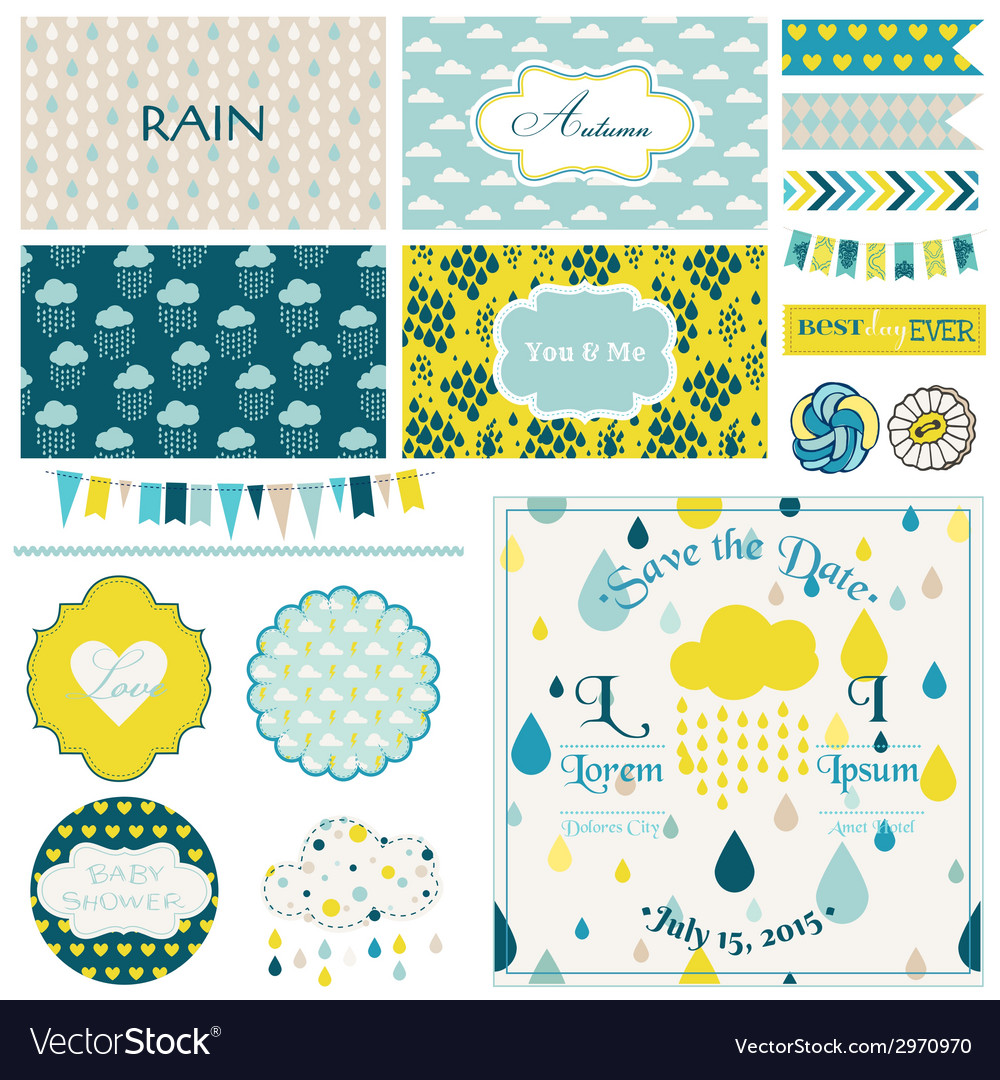 Vintage rain sky party set vector | Price: 1 Credit (USD $1)
