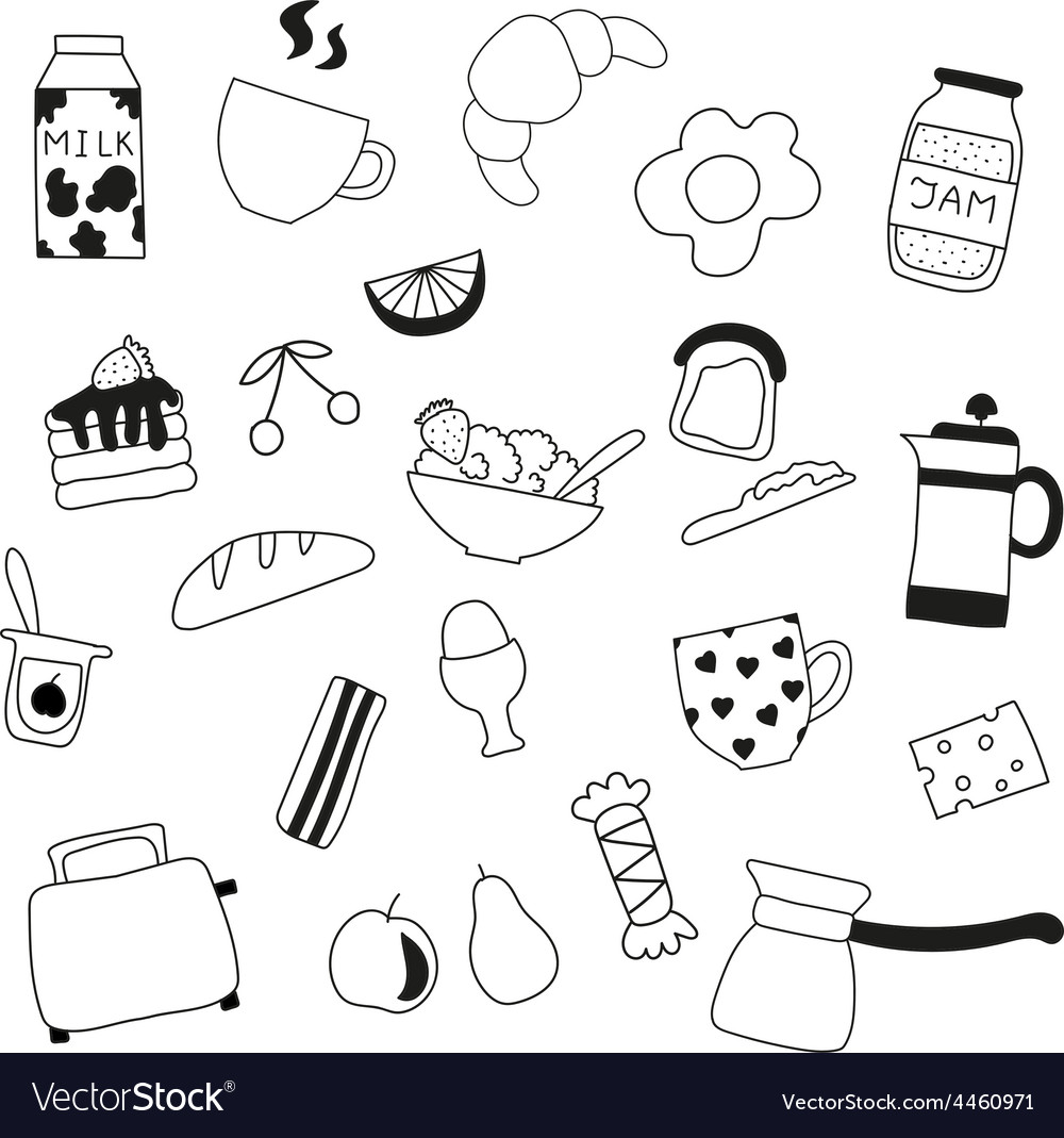 Assortment of doodle food for breakfast vector | Price: 1 Credit (USD $1)