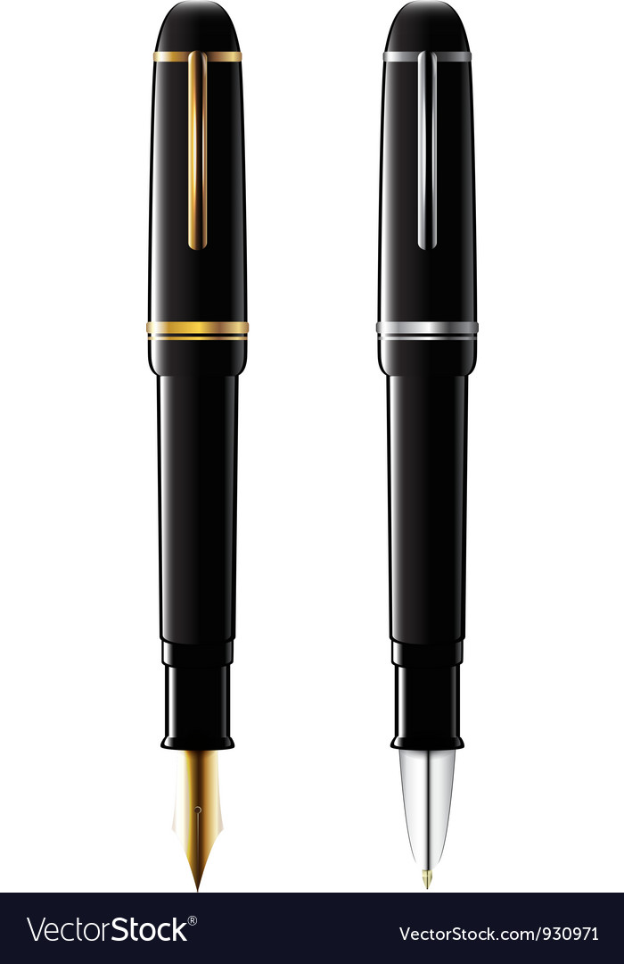 Ballpoint and fountain pens vector | Price: 1 Credit (USD $1)