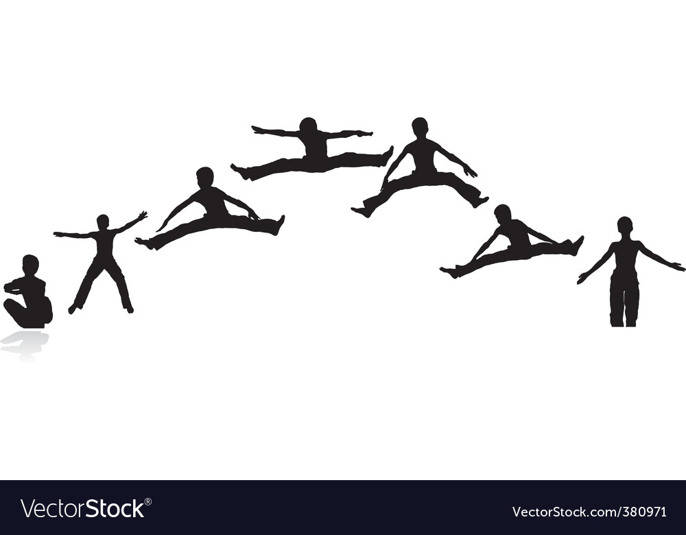 Boy jumping silhouettes vector | Price: 1 Credit (USD $1)