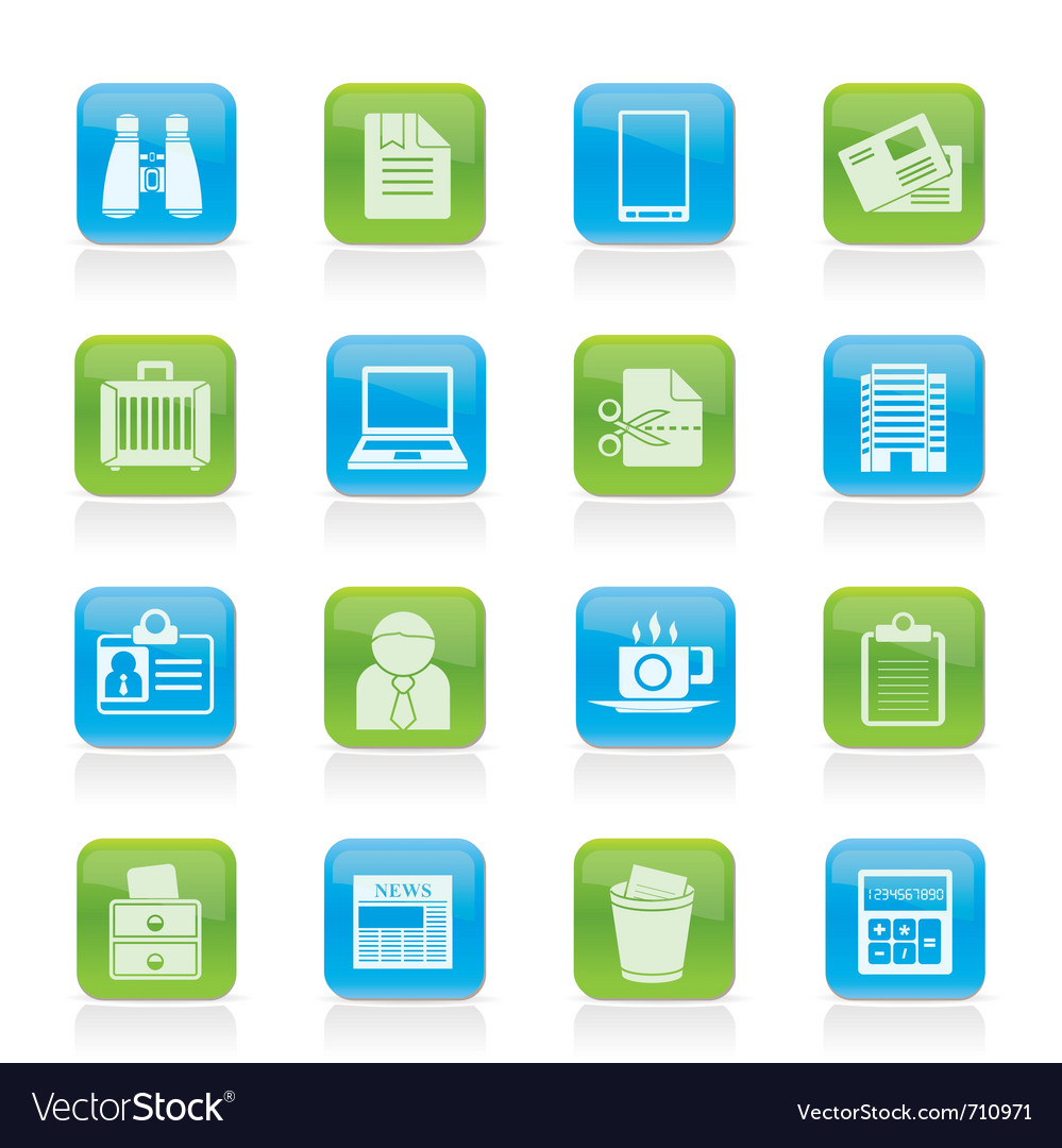 Business and office elements icons vector | Price: 1 Credit (USD $1)
