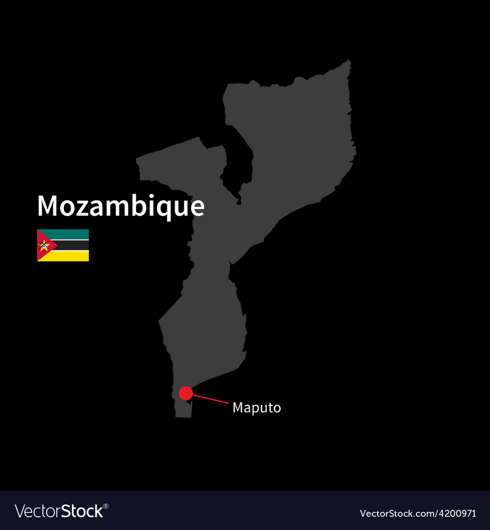 Detailed map of mozambique and capital city maputo vector | Price: 1 Credit (USD $1)