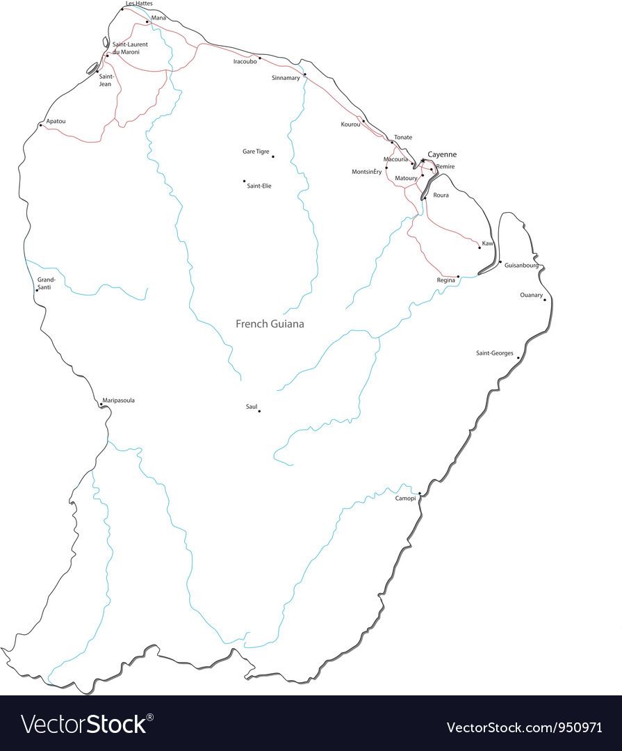 French guiana black white map vector | Price: 1 Credit (USD $1)