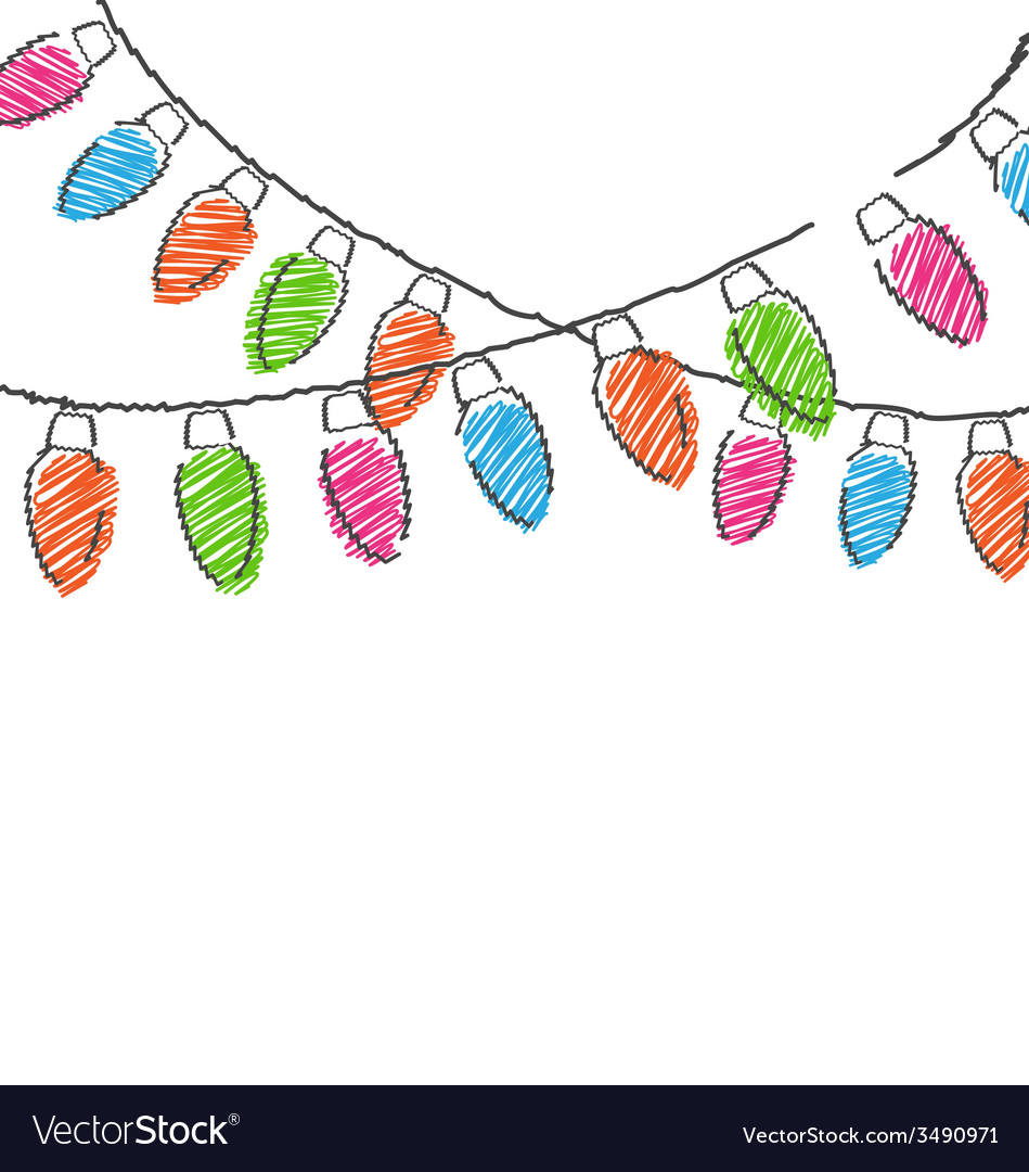 Hand drawn christmas lights isolated on white vector | Price: 1 Credit (USD $1)