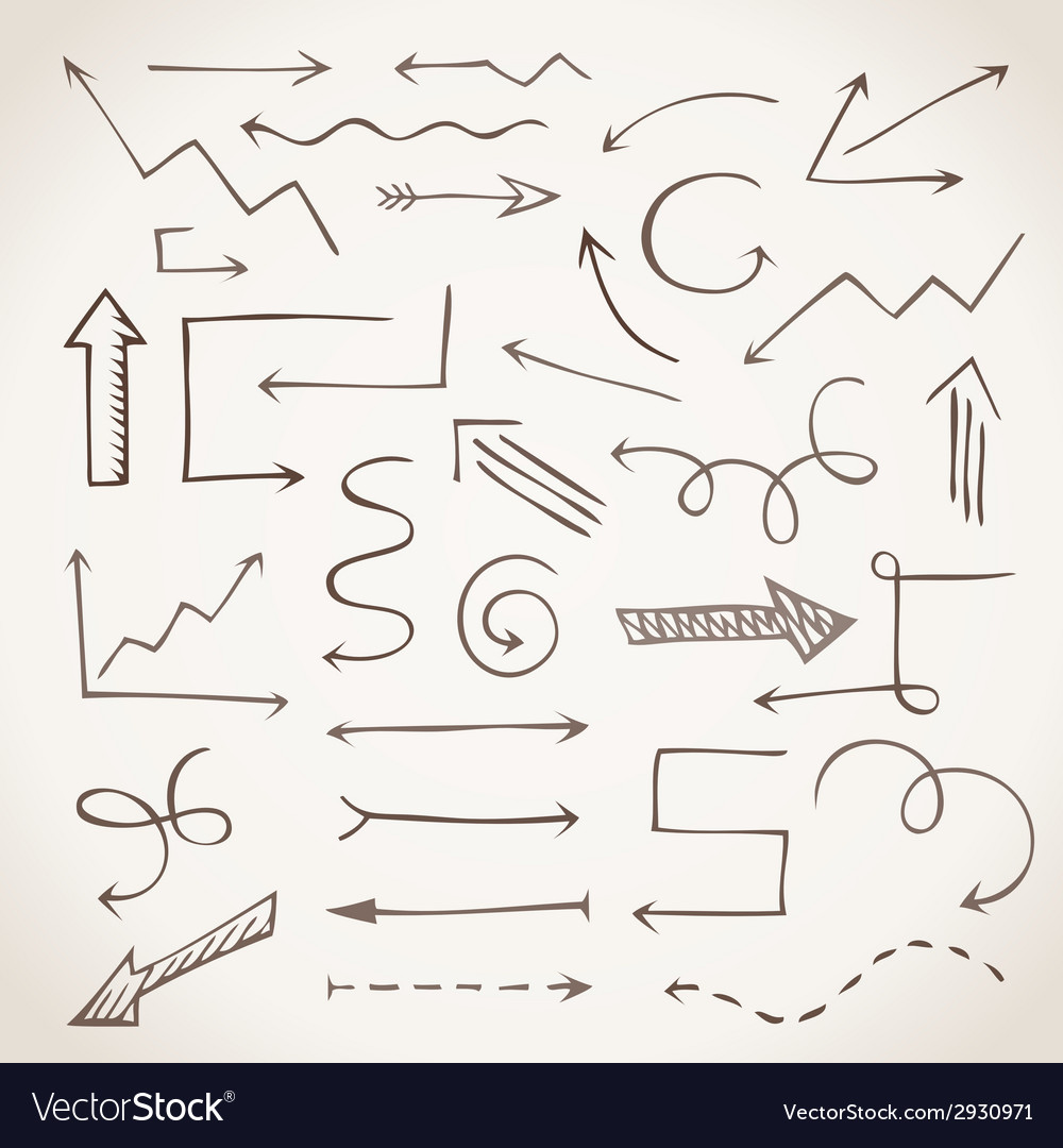 Hand-drawn sketchy arrows in sepia vector   Price: 1 Credit (USD $1)