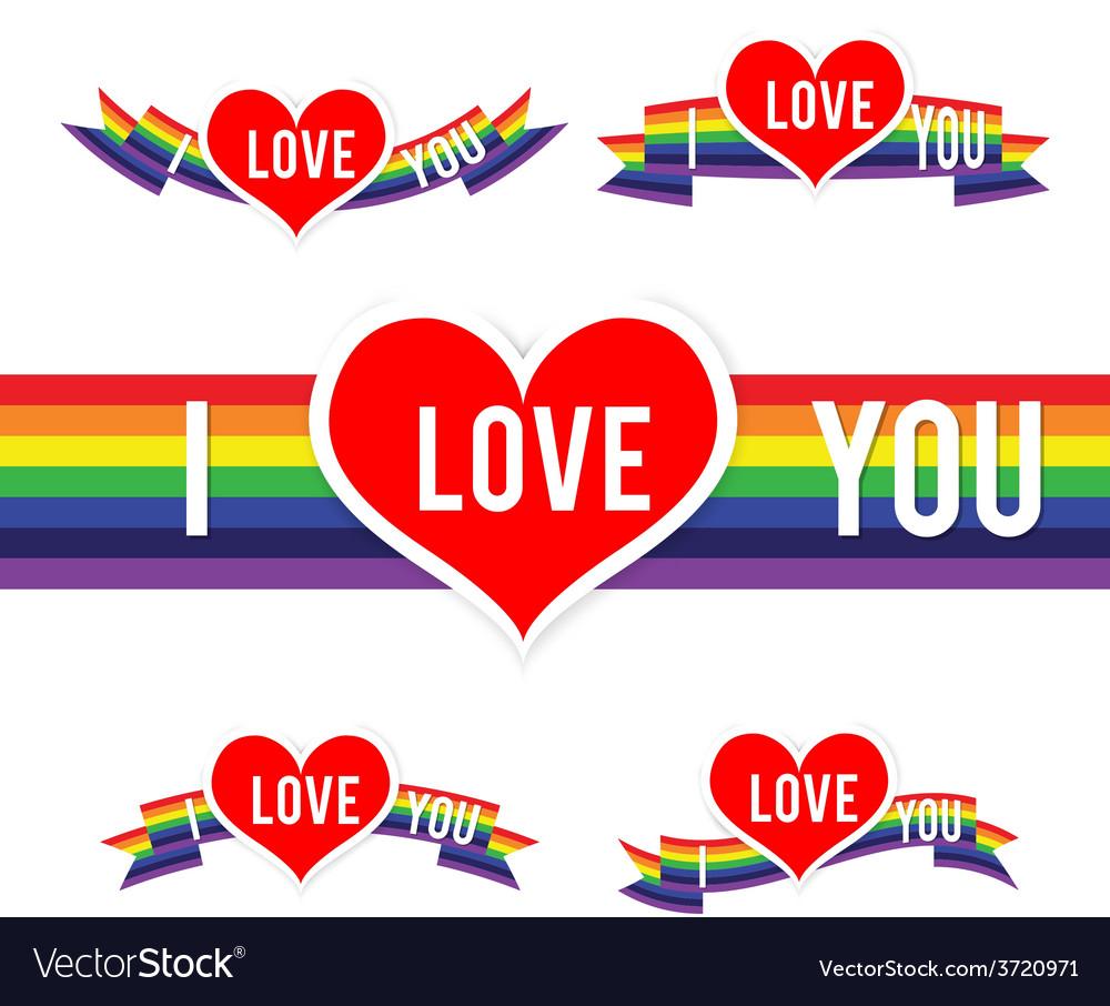Happy valentine heart and rainbow ribbon 001 vector | Price: 1 Credit (USD $1)