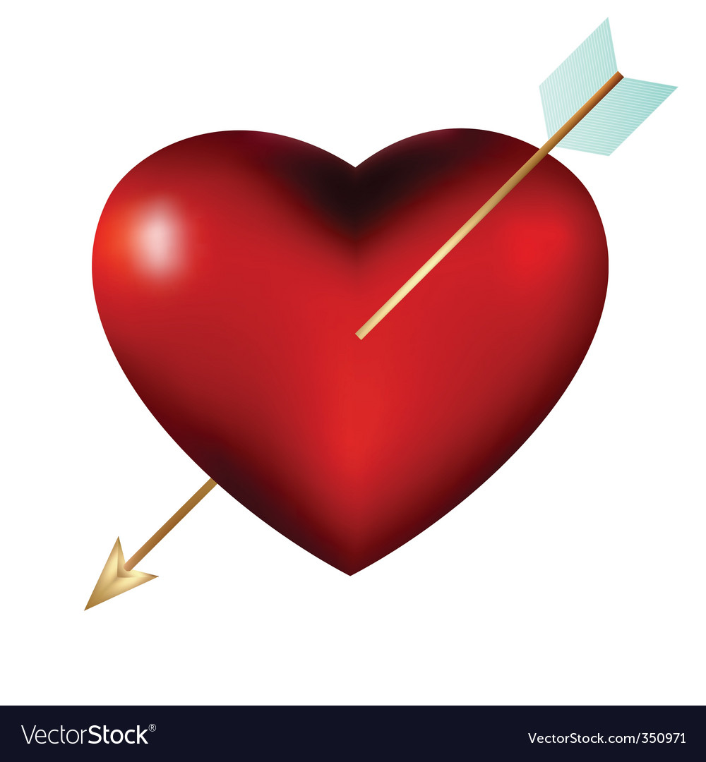 Heart with arrow isolated vector | Price: 1 Credit (USD $1)